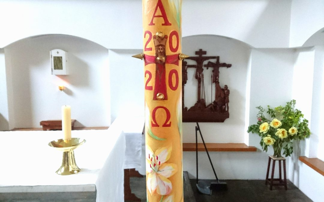 Paschal candle in St Mary Magdalene's Chapel